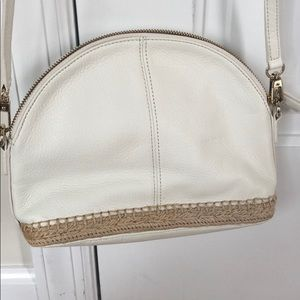 Talbots white leather cross body bag
